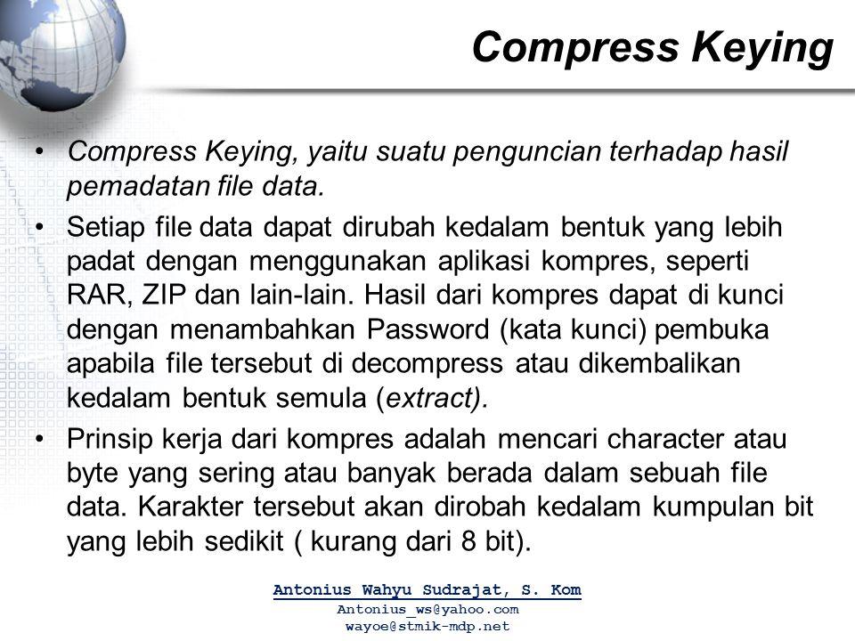 Compress Keying Compress Keying, yaitu suatu penguncian terhadap hasil pemadatan file data. Setiap file data dapat dirubah kedalam bentuk yang lebih p