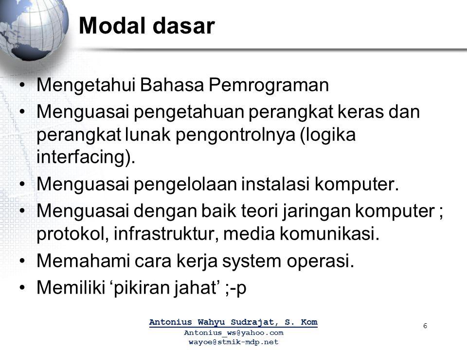 Modal dasar Mengetahui Bahasa Pemrograman Menguasai pengetahuan perangkat keras dan perangkat lunak pengontrolnya (logika interfacing). Menguasai peng