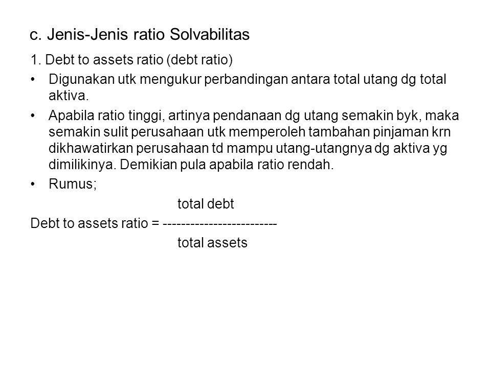 2.Debt to equity ratio Merupakan ratio yg digunakan utk menilai utang dg ekuitas.