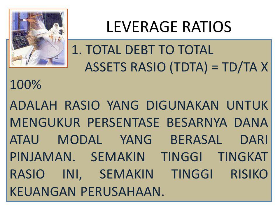 LEVERAGE RATIOS 1. TOTAL DEBT TO TOTAL ASSETS RASIO (TDTA) = TD/TA X 100% ADALAH RASIO YANG DIGUNAKAN UNTUK MENGUKUR PERSENTASE BESARNYA DANA ATAU MOD