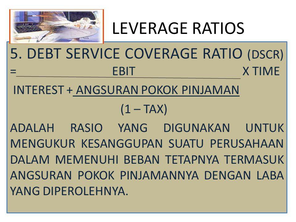 LEVERAGE RATIOS 5. DEBT SERVICE COVERAGE RATIO (DSCR) = EBIT X TIME INTEREST + ANGSURAN POKOK PINJAMAN (1 – TAX) ADALAH RASIO YANG DIGUNAKAN UNTUK MEN