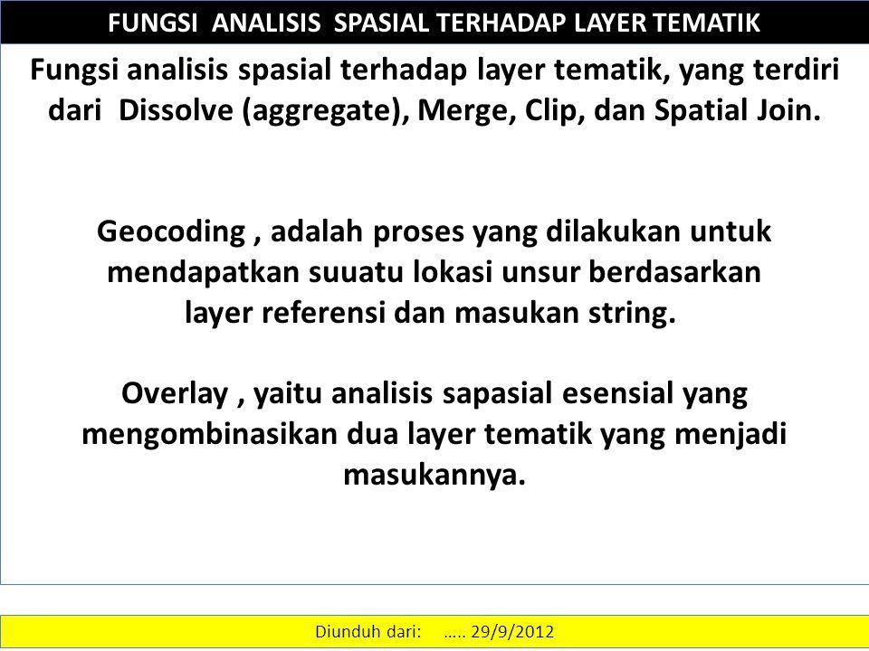 FUNGSI ANALISIS SPASIAL TERHADAP LAYER TEMATIK Fungsi analisis spasial terhadap layer tematik, yang terdiri dari Dissolve (aggregate), Merge, Clip, dan Spatial Join.