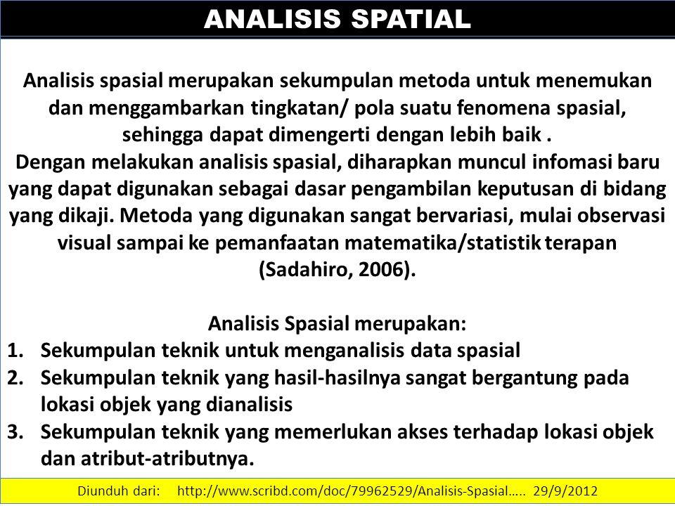 ANALISIS SPATIAL Analisis spasial merupakan sekumpulan metoda untuk menemukan dan menggambarkan tingkatan/ pola suatu fenomena spasial, sehingga dapat dimengerti dengan lebih baik.
