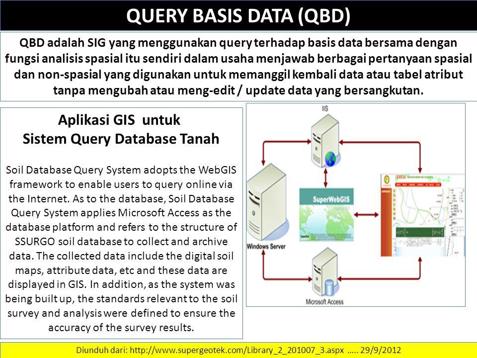 QUERY BASIS DATA (QBD) QBD adalah SIG yang menggunakan query terhadap basis data bersama dengan fungsi analisis spasial itu sendiri dalam usaha menjawab berbagai pertanyaan spasial dan non-spasial yang digunakan untuk memanggil kembali data atau tabel atribut tanpa mengubah atau meng-edit / update data yang bersangkutan.