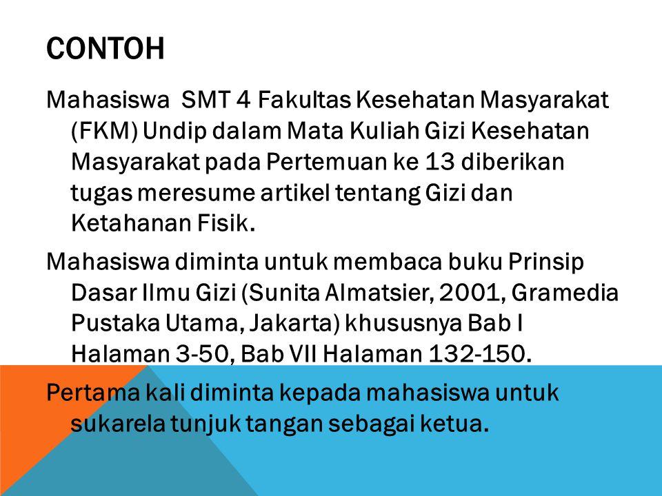 CONTOH Mahasiswa SMT 4 Fakultas Kesehatan Masyarakat (FKM) Undip dalam Mata Kuliah Gizi Kesehatan Masyarakat pada Pertemuan ke 13 diberikan tugas mere