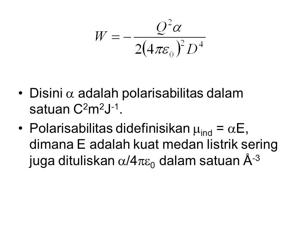 Disini  adalah polarisabilitas dalam satuan C 2 m 2 J -1. Polarisabilitas didefinisikan  ind =  E, dimana E adalah kuat medan listrik sering juga d