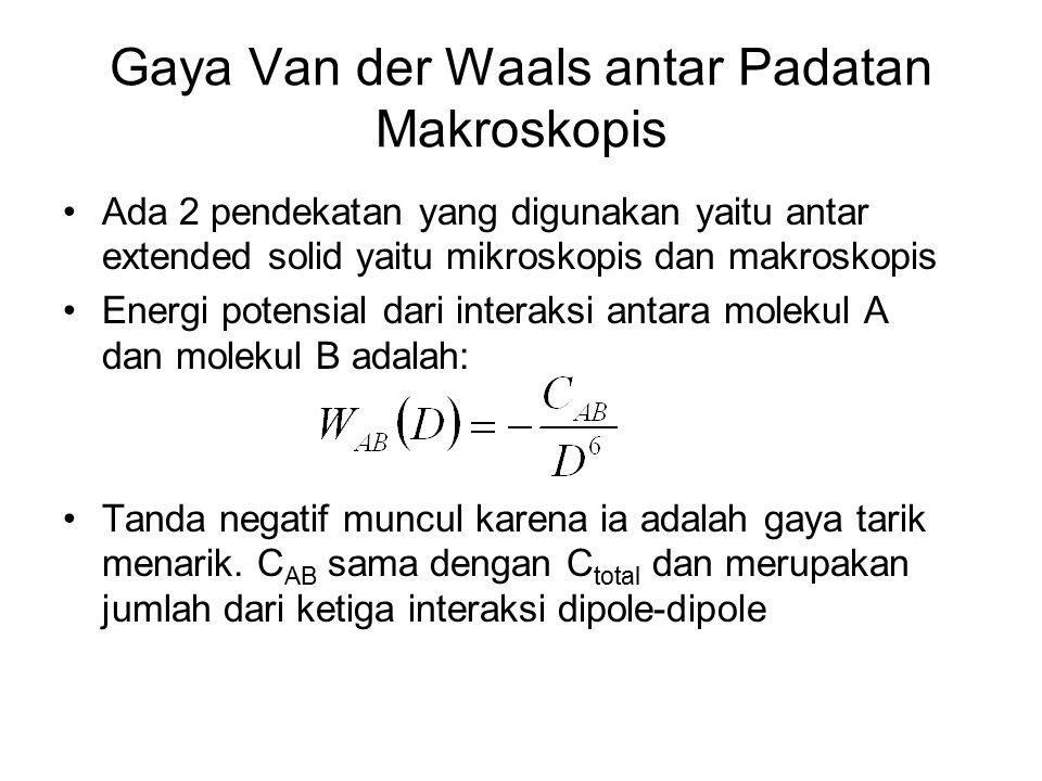Gaya Van der Waals antar Padatan Makroskopis Ada 2 pendekatan yang digunakan yaitu antar extended solid yaitu mikroskopis dan makroskopis Energi potensial dari interaksi antara molekul A dan molekul B adalah: Tanda negatif muncul karena ia adalah gaya tarik menarik.