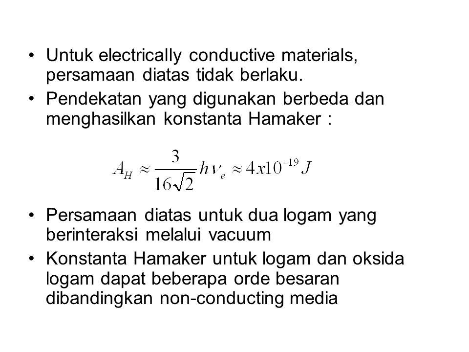 Untuk electrically conductive materials, persamaan diatas tidak berlaku. Pendekatan yang digunakan berbeda dan menghasilkan konstanta Hamaker : Persam