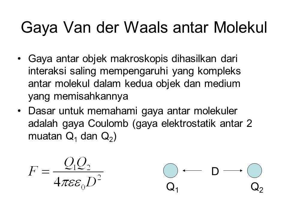 Gaya Van der Waals antar Molekul Gaya antar objek makroskopis dihasilkan dari interaksi saling mempengaruhi yang kompleks antar molekul dalam kedua objek dan medium yang memisahkannya Dasar untuk memahami gaya antar molekuler adalah gaya Coulomb (gaya elektrostatik antar 2 muatan Q 1 dan Q 2 ) D Q1Q1 Q2Q2
