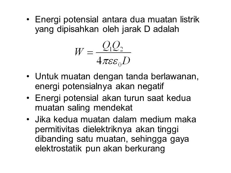 Energi potensial antara dua muatan listrik yang dipisahkan oleh jarak D adalah Untuk muatan dengan tanda berlawanan, energi potensialnya akan negatif Energi potensial akan turun saat kedua muatan saling mendekat Jika kedua muatan dalam medium maka permitivitas dielektriknya akan tinggi dibanding satu muatan, sehingga gaya elektrostatik pun akan berkurang