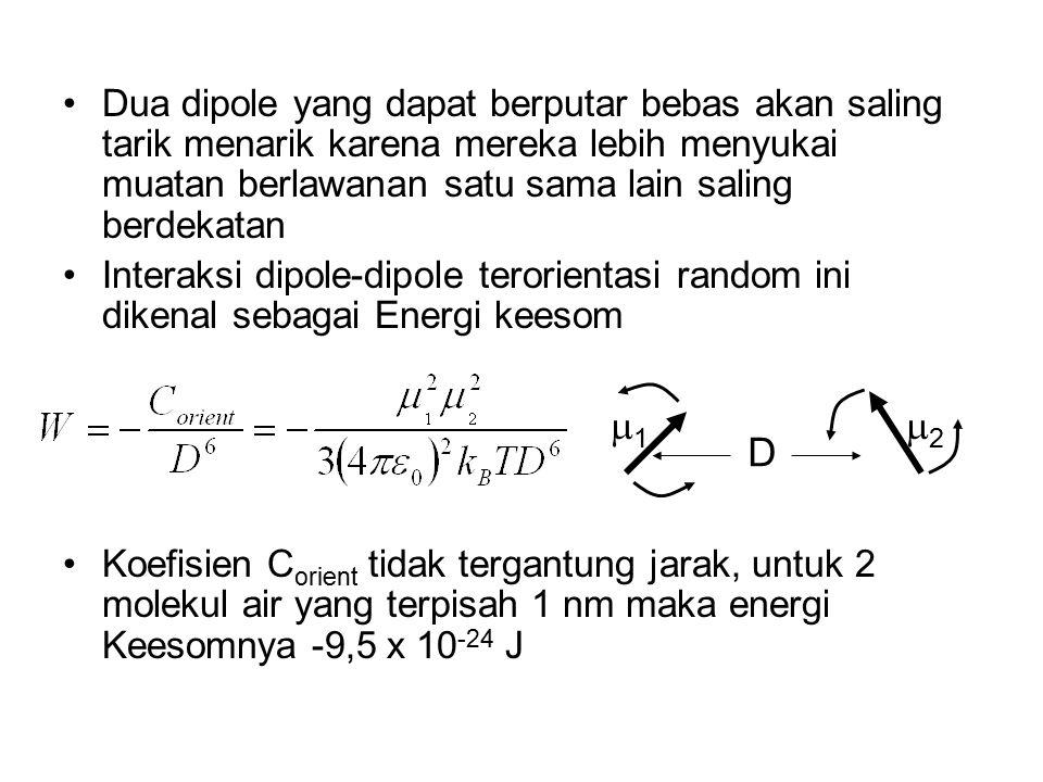 Semua persamaan diatas memberikan energi bebas Helmholtz dari interaksi, karena diturunkan pada kondisi volume konstan Dalam hal ini energi bebas dan energi dalam adalah identik Untuk interaksi dipole-dipole terorientasi secara acak, efek entropi akan berkontribusi terhadap energi bebas Efek entropi dimaksud adalah teraturnya satu dipole oleh medan dipole yang lain Jika satu dipole mendekati dipole lain, separuh energi dalam akan diambil akibat berkurangnya derajat kebebasan rotasional dipole karena dipole akan ter- aligned (lurus) Atas dasar ini energi bebas yang diberikan oleh pers.