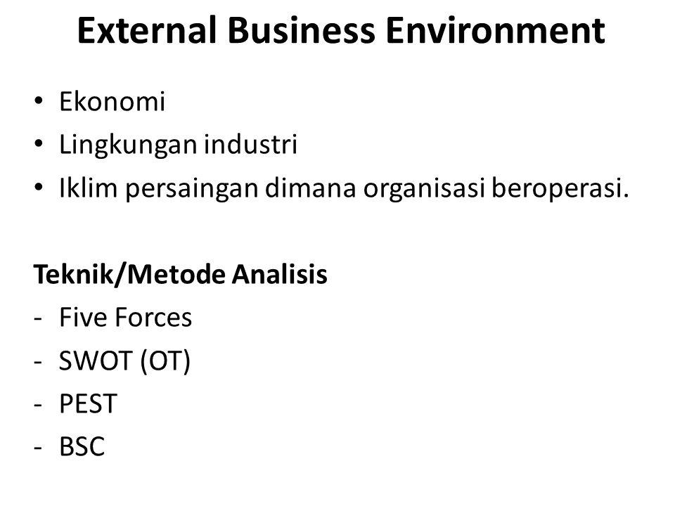 Internal IS/IT Environment Perspektif SI/TI sekarang di bisnis Kematangannya Ruang lingkup dan kontribusi bisnis Skill sumber daya dan infrastruktur teknologi.