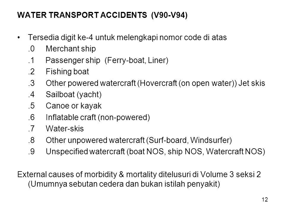 12 WATER TRANSPORT ACCIDENTS (V90-V94) Tersedia digit ke-4 untuk melengkapi nomor code di atas.0Merchant ship.1 Passenger ship (Ferry-boat, Liner).2Fi