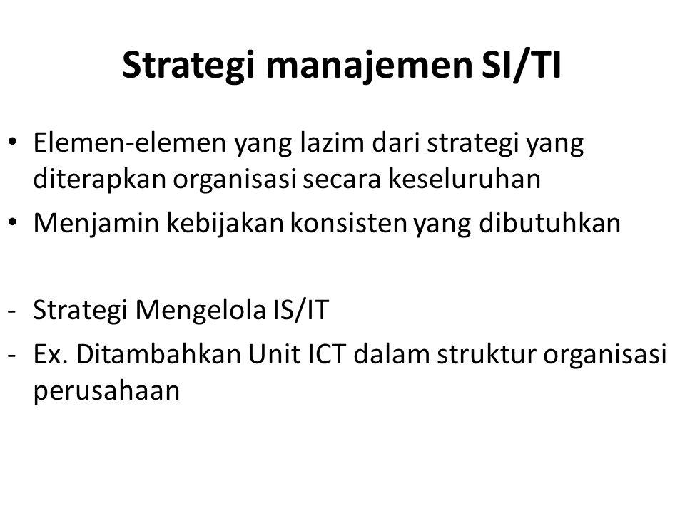 Strategi manajemen SI/TI Elemen-elemen yang lazim dari strategi yang diterapkan organisasi secara keseluruhan Menjamin kebijakan konsisten yang dibutuhkan -Strategi Mengelola IS/IT -Ex.