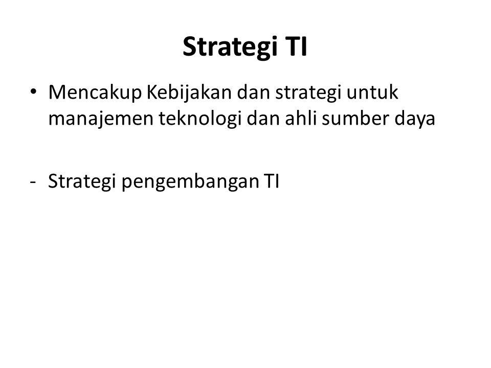 Strategi TI Mencakup Kebijakan dan strategi untuk manajemen teknologi dan ahli sumber daya -Strategi pengembangan TI