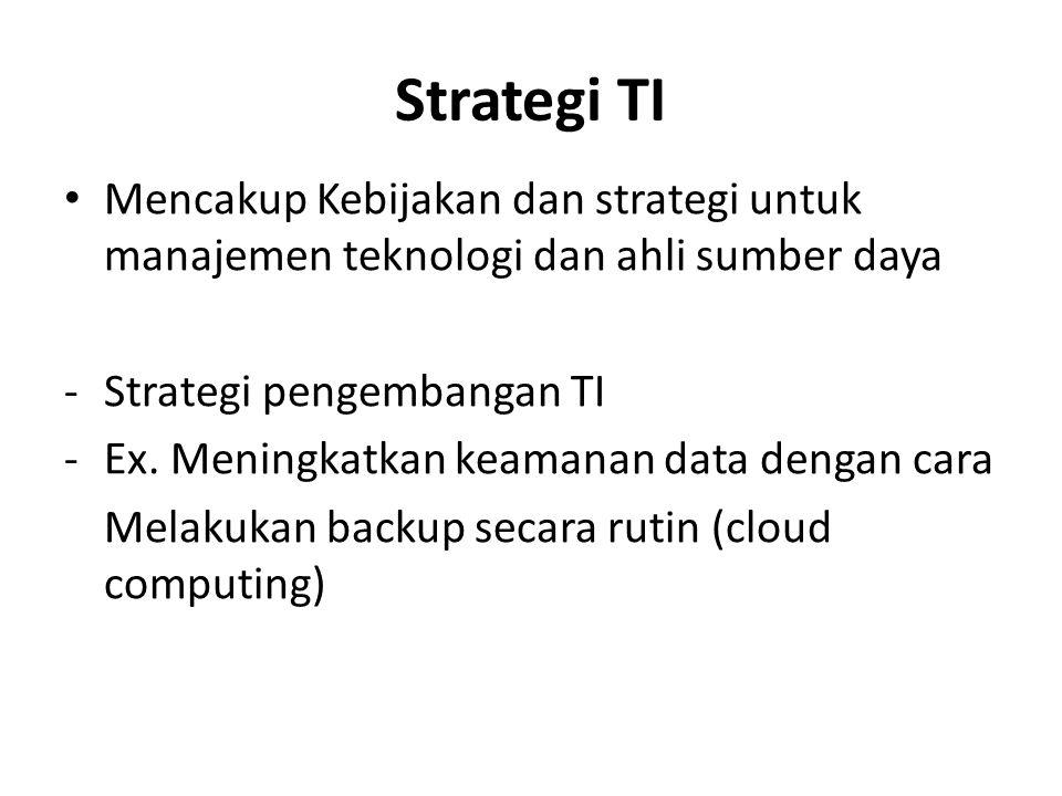 Strategi TI Mencakup Kebijakan dan strategi untuk manajemen teknologi dan ahli sumber daya -Strategi pengembangan TI -Ex. Meningkatkan keamanan data d