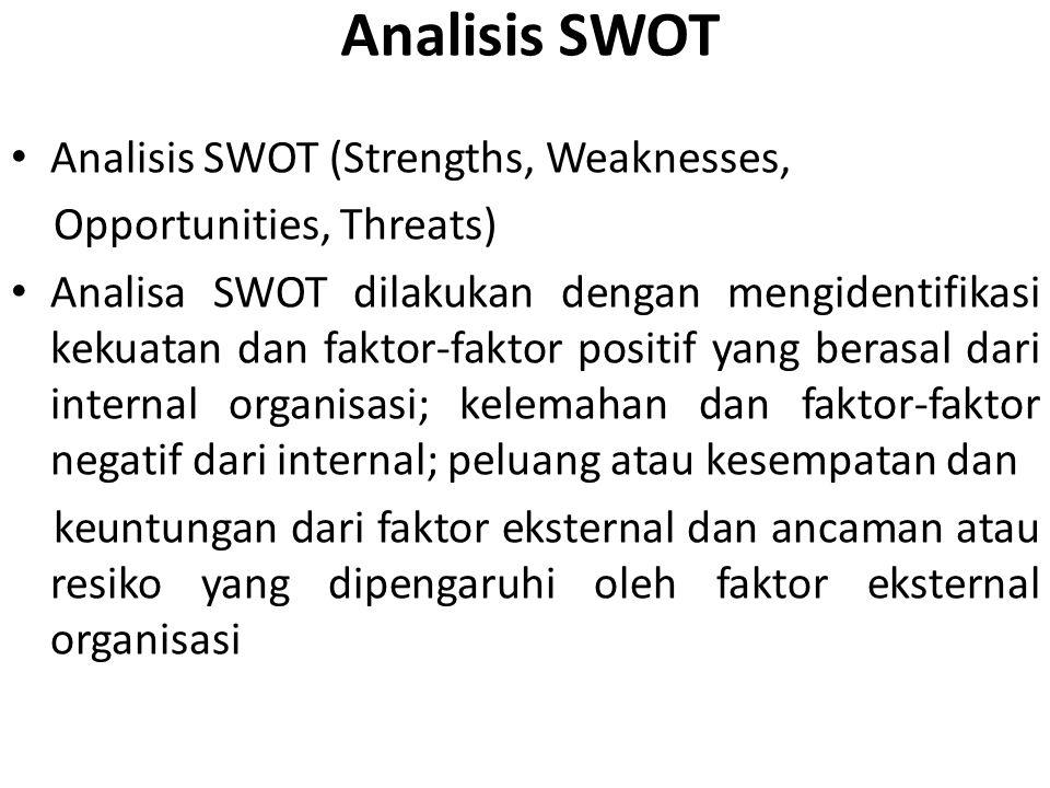 Analisis SWOT Analisis SWOT (Strengths, Weaknesses, Opportunities, Threats) Analisa SWOT dilakukan dengan mengidentifikasi kekuatan dan faktor-faktor positif yang berasal dari internal organisasi; kelemahan dan faktor-faktor negatif dari internal; peluang atau kesempatan dan keuntungan dari faktor eksternal dan ancaman atau resiko yang dipengaruhi oleh faktor eksternal organisasi