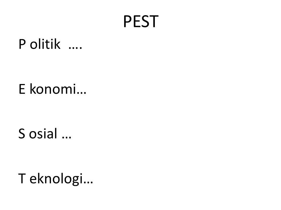 PEST P olitik …. E konomi… S osial … T eknologi…