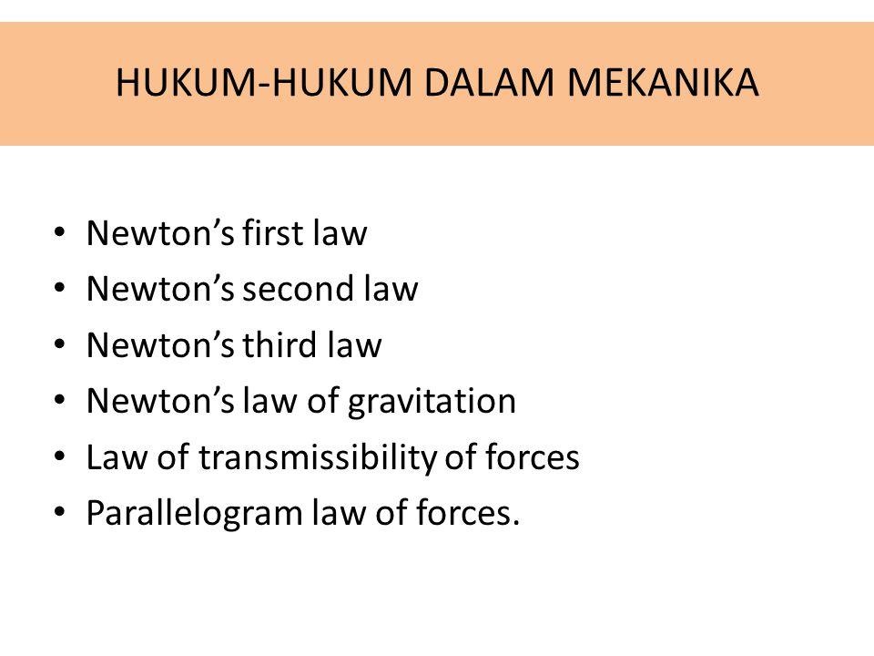 HUKUM-HUKUM DALAM MEKANIKA Newton's first law Newton's second law Newton's third law Newton's law of gravitation Law of transmissibility of forces Par