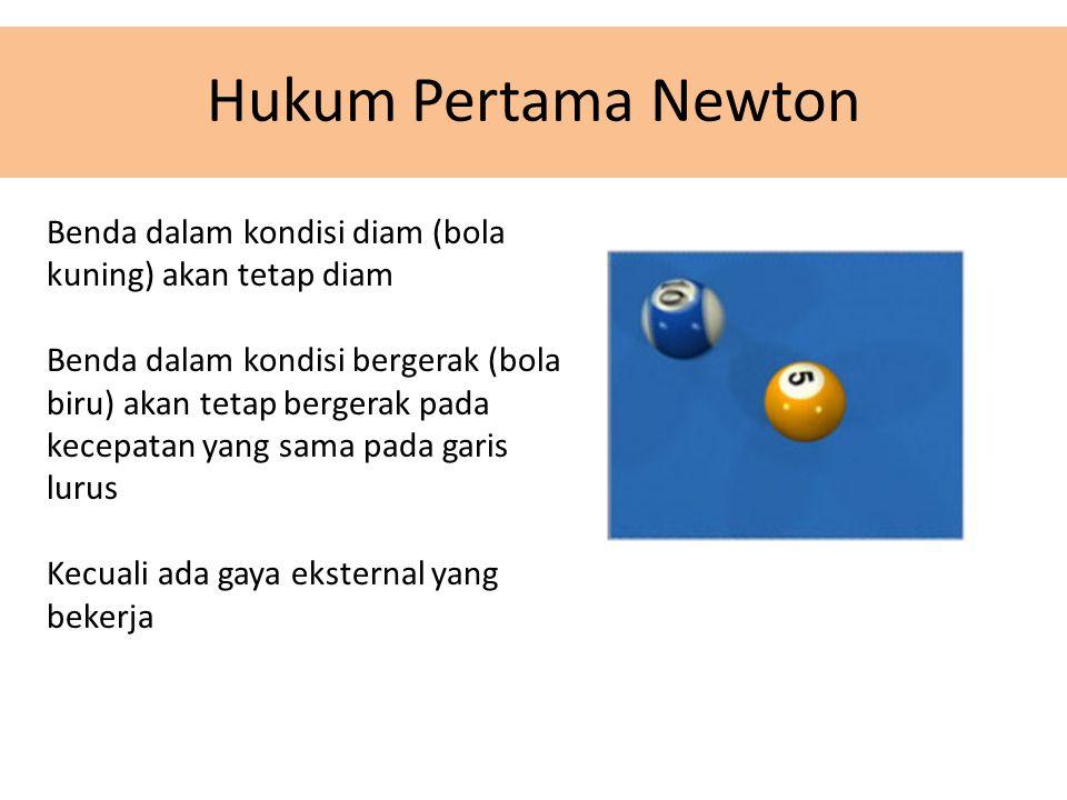 Hukum Pertama Newton Benda dalam kondisi diam (bola kuning) akan tetap diam Benda dalam kondisi bergerak (bola biru) akan tetap bergerak pada kecepatan yang sama pada garis lurus Kecuali ada gaya eksternal yang bekerja