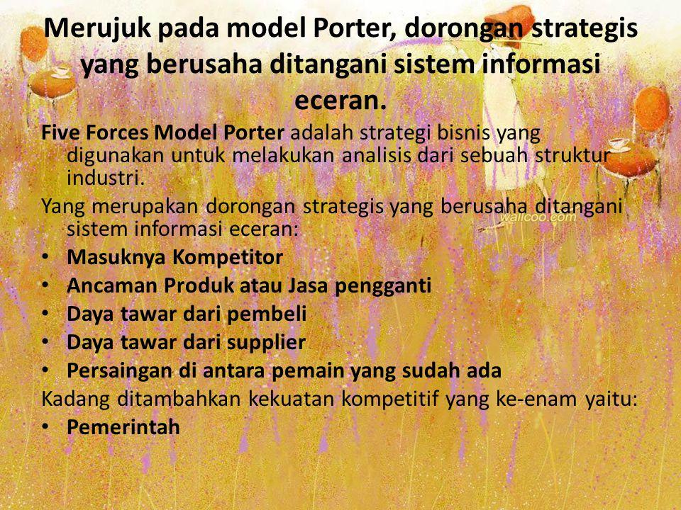 Merujuk pada model Porter, dorongan strategis yang berusaha ditangani sistem informasi eceran. Five Forces Model Porter adalah strategi bisnis yang di