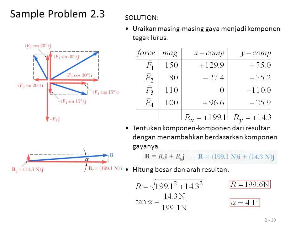 2 - 19 Sample Problem 2.3 SOLUTION: Uraikan masing-masing gaya menjadi komponen tegak lurus. Hitung besar dan arah resultan. Tentukan komponen-kompone