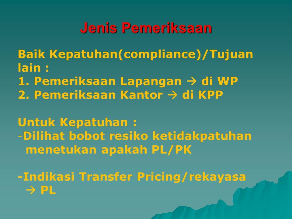 Tujuan lain : - Penentuan - Pencocokan - Pengumpulan materi Yang berkaitan dengan tujuan pemeriksaan Misalnya : Pemberian NPWP, penghapusan NPWP, pencabutan PKP, Permintaan info dari Tax treaty Partner.
