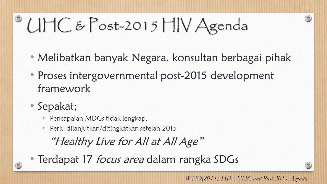 UHC & Post-2015 HIV Agenda Melibatkan banyak Negara, konsultan berbagai pihak Proses intergovernmental post-2015 development framework Sepakat; Pencap