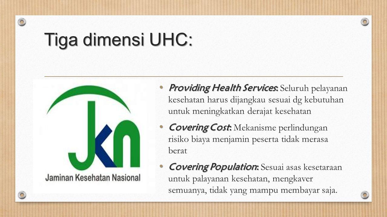 Tiga dimensi UHC: Providing Health Services: Providing Health Services: Seluruh pelayanan kesehatan harus dijangkau sesuai dg kebutuhan untuk meningka