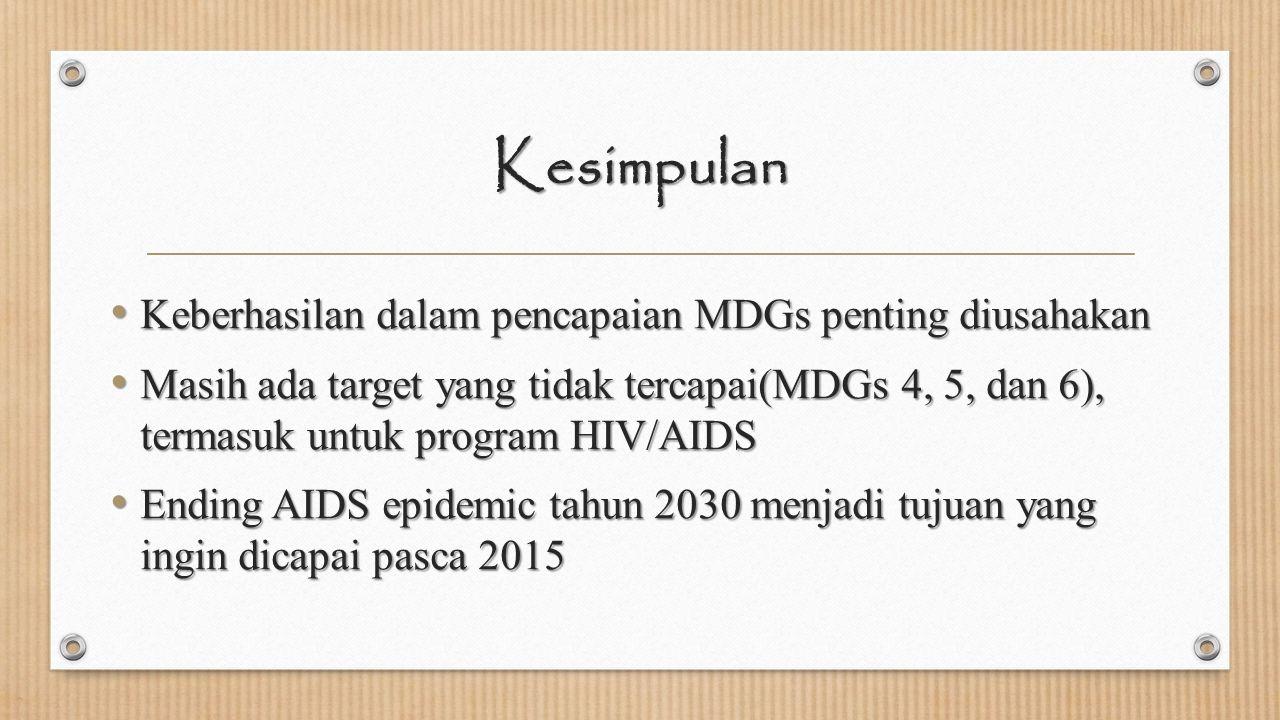 Kesimpulan Keberhasilan dalam pencapaian MDGs penting diusahakan Keberhasilan dalam pencapaian MDGs penting diusahakan Masih ada target yang tidak ter