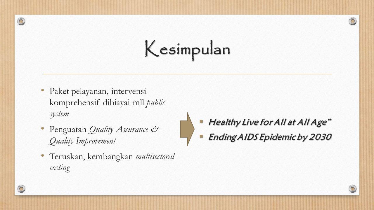 Kesimpulan Paket pelayanan, intervensi komprehensif dibiayai mll public system Penguatan Quality Assurance & Quality Improvement Teruskan, kembangkan