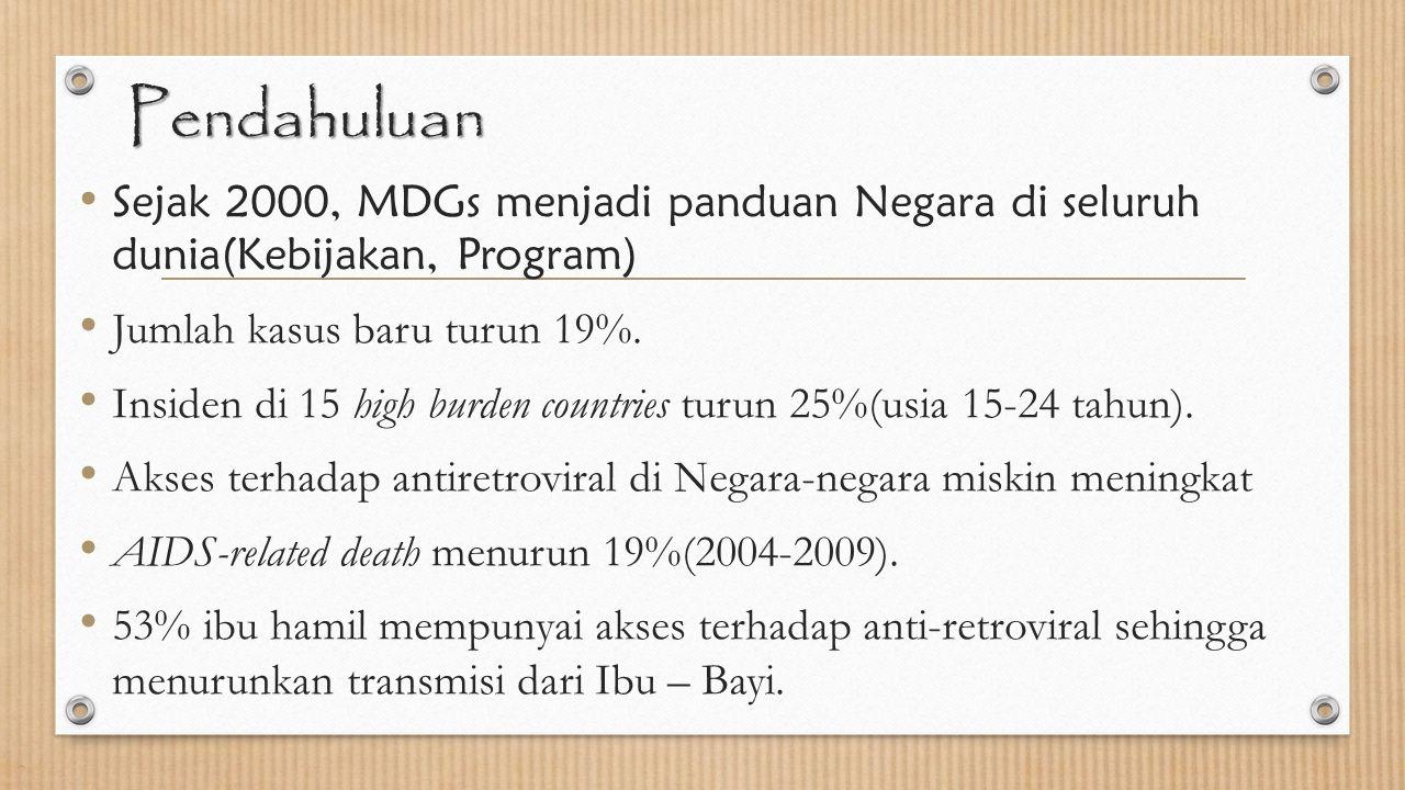 Pendahuluan Sejak 2000, MDGs menjadi panduan Negara di seluruh dunia(Kebijakan, Program) Jumlah kasus baru turun 19%. Insiden di 15 high burden countr