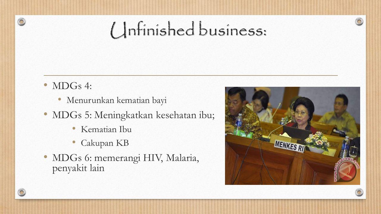 Unfinished business: MDGs 4: Menurunkan kematian bayi MDGs 5: Meningkatkan kesehatan ibu; Kematian Ibu Cakupan KB MDGs 6: memerangi HIV, Malaria, peny