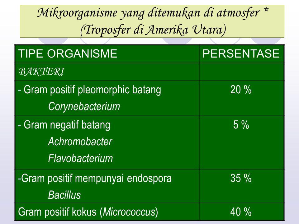 Mikroorganisme yang ditemukan di atmosfer * (Troposfer di Amerika Utara) TIPE ORGANISMEPERSENTASE BAKTERI - Gram positif pleomorphic batang Corynebacterium 20 % - Gram negatif batang Achromobacter Flavobacterium 5 % -Gram positif mempunyai endospora Bacillus 35 % Gram positif kokus ( Micrococcus )40 %