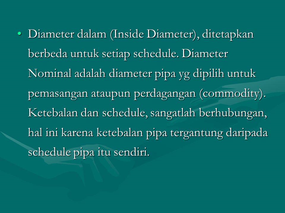 Diameter dalam (Inside Diameter), ditetapkan berbeda untuk setiap schedule. Diameter Nominal adalah diameter pipa yg dipilih untuk pemasangan ataupun