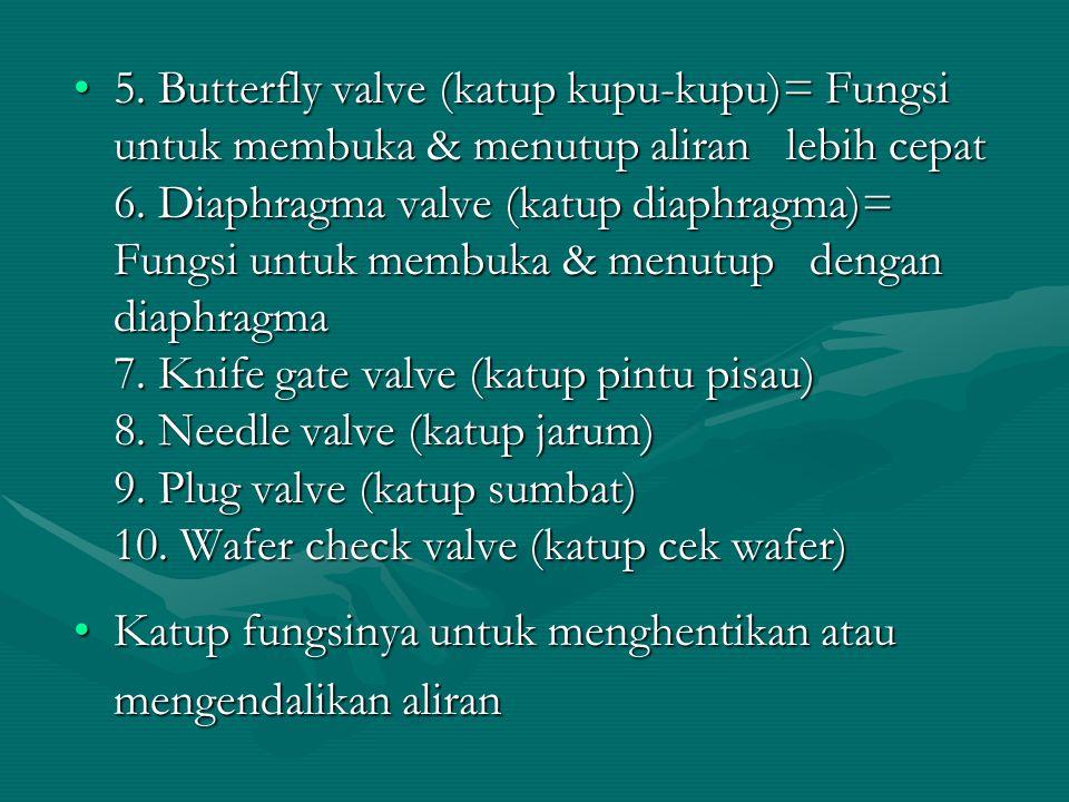 5. Butterfly valve (katup kupu-kupu)= Fungsi untuk membuka & menutup aliran lebih cepat 6. Diaphragma valve (katup diaphragma)= Fungsi untuk membuka &