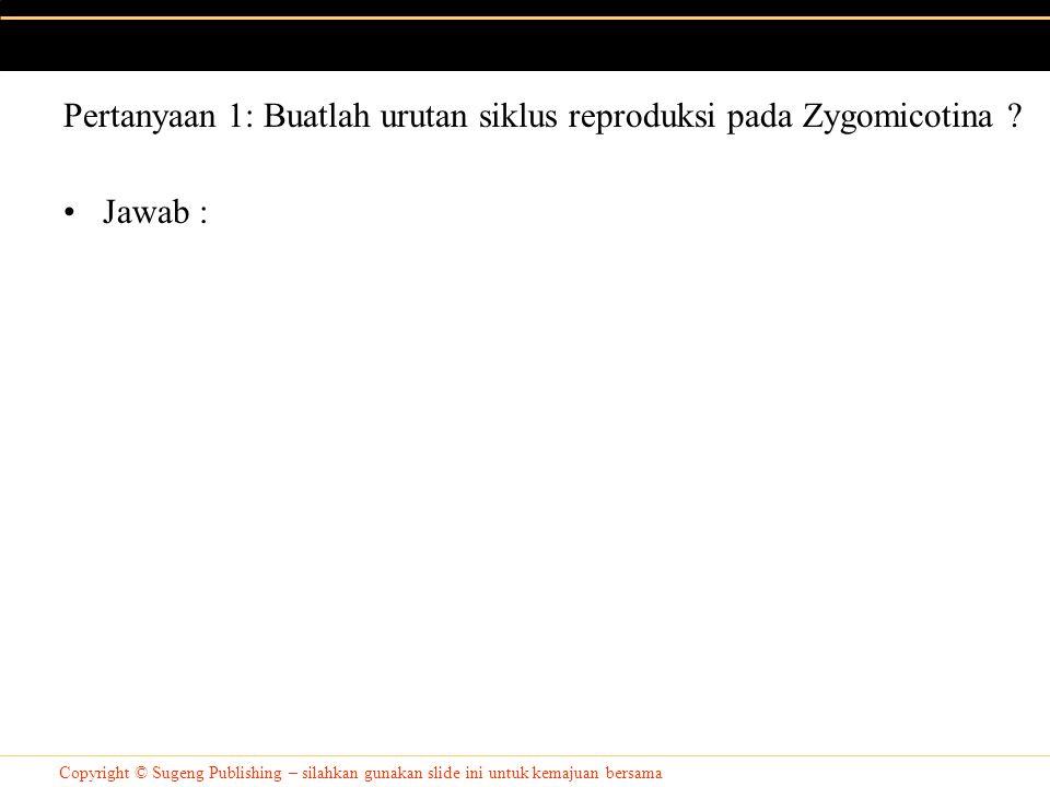 Copyright © Sugeng Publishing – silahkan gunakan slide ini untuk kemajuan bersama Jawab : Pertanyaan 1: Buatlah urutan siklus reproduksi pada Zygomicotina ?