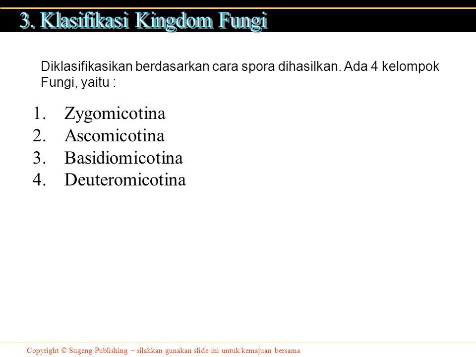 Copyright © Sugeng Publishing – silahkan gunakan slide ini untuk kemajuan bersama 1.Zygomicotina 2.Ascomicotina 3.Basidiomicotina 4.Deuteromicotina Diklasifikasikan berdasarkan cara spora dihasilkan.