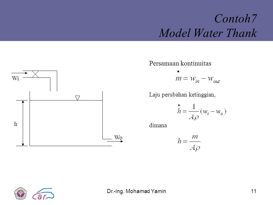 Dr.-Ing. Mohamad Yamin11 Contoh7 Model Water Thank dimana Laju perubahan ketinggian, Persamaan kontinuitas Wi h Wo