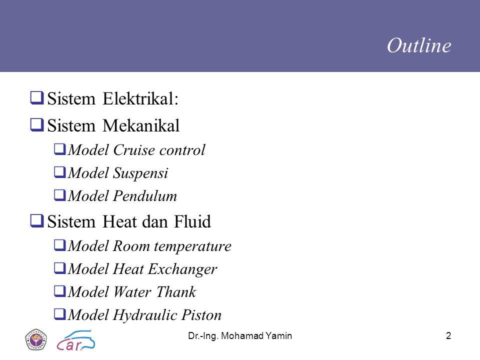 Dr.-Ing. Mohamad Yamin2 Outline  Sistem Elektrikal:  Sistem Mekanikal  Model Cruise control  Model Suspensi  Model Pendulum  Sistem Heat dan Flu