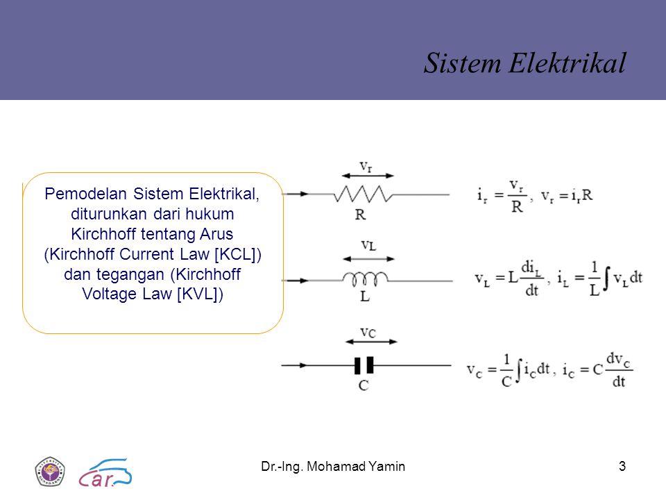 Dr.-Ing. Mohamad Yamin3 Sistem Elektrikal Pemodelan Sistem Elektrikal, diturunkan dari hukum Kirchhoff tentang Arus (Kirchhoff Current Law [KCL]) dan