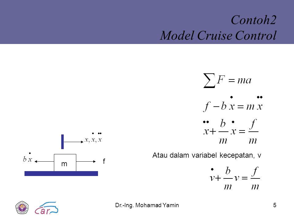 Dr.-Ing. Mohamad Yamin5 Contoh2 Model Cruise Control m f Atau dalam variabel kecepatan, v
