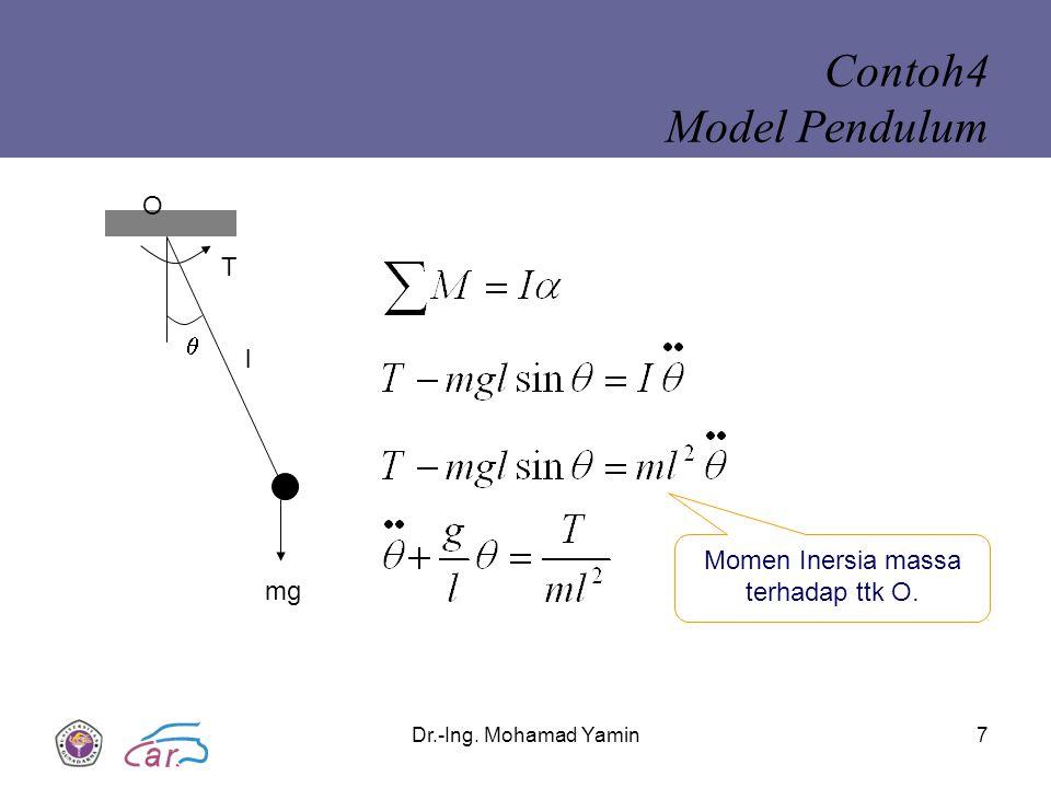 Dr.-Ing. Mohamad Yamin7 Contoh4 Model Pendulum  l mg T O Momen Inersia massa terhadap ttk O.
