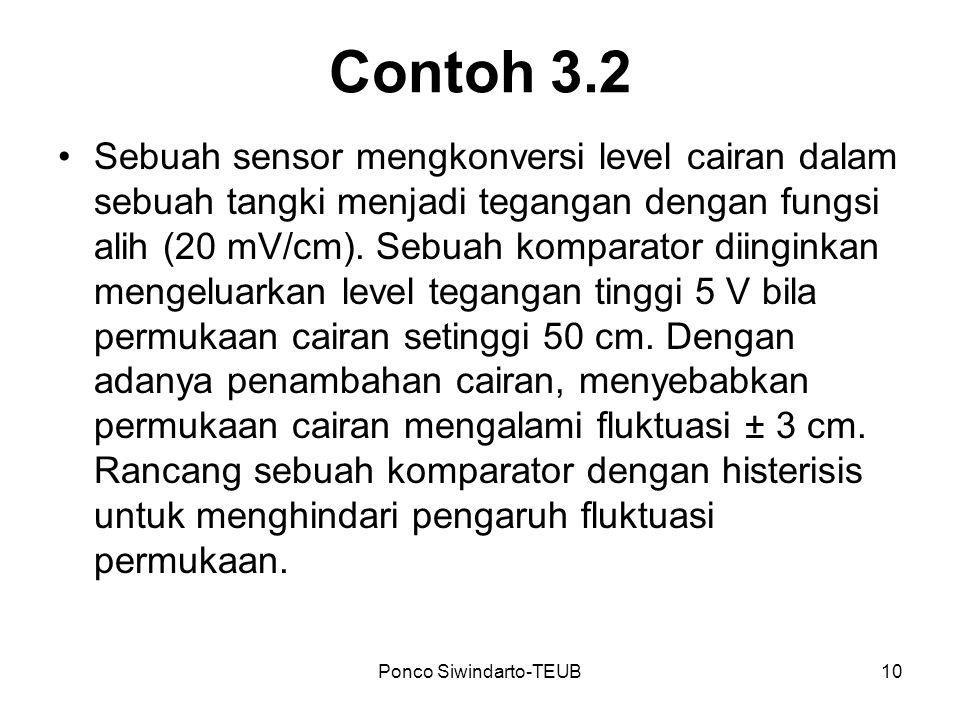 Ponco Siwindarto-TEUB10 Contoh 3.2 Sebuah sensor mengkonversi level cairan dalam sebuah tangki menjadi tegangan dengan fungsi alih (20 mV/cm). Sebuah