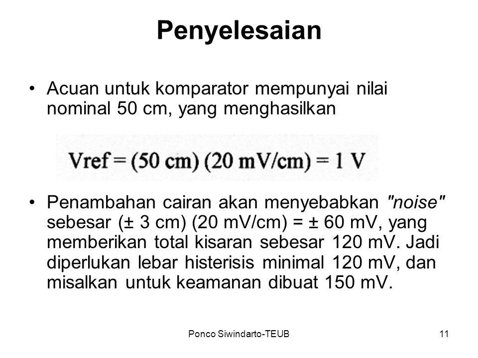 Ponco Siwindarto-TEUB11 Penyelesaian Acuan untuk komparator mempunyai nilai nominal 50 cm, yang menghasilkan Penambahan cairan akan menyebabkan