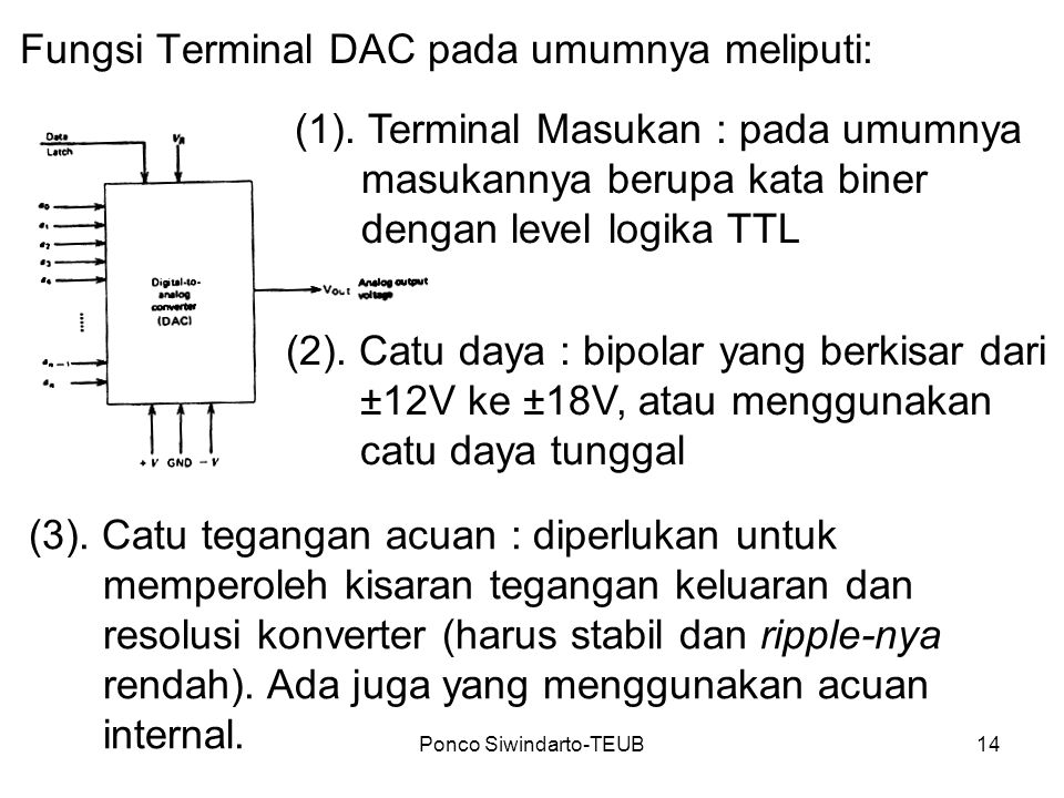 Ponco Siwindarto-TEUB14 Fungsi Terminal DAC pada umumnya meliputi: (1). Terminal Masukan : pada umumnya masukannya berupa kata biner dengan level logi