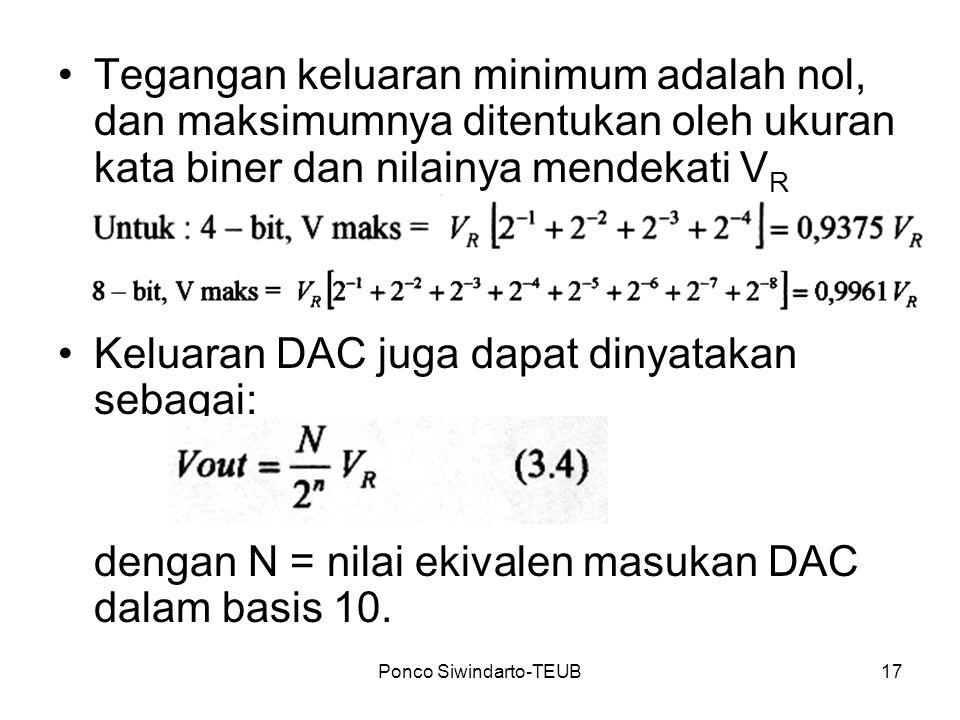 Ponco Siwindarto-TEUB17 Tegangan keluaran minimum adalah nol, dan maksimumnya ditentukan oleh ukuran kata biner dan nilainya mendekati V R Keluaran DA