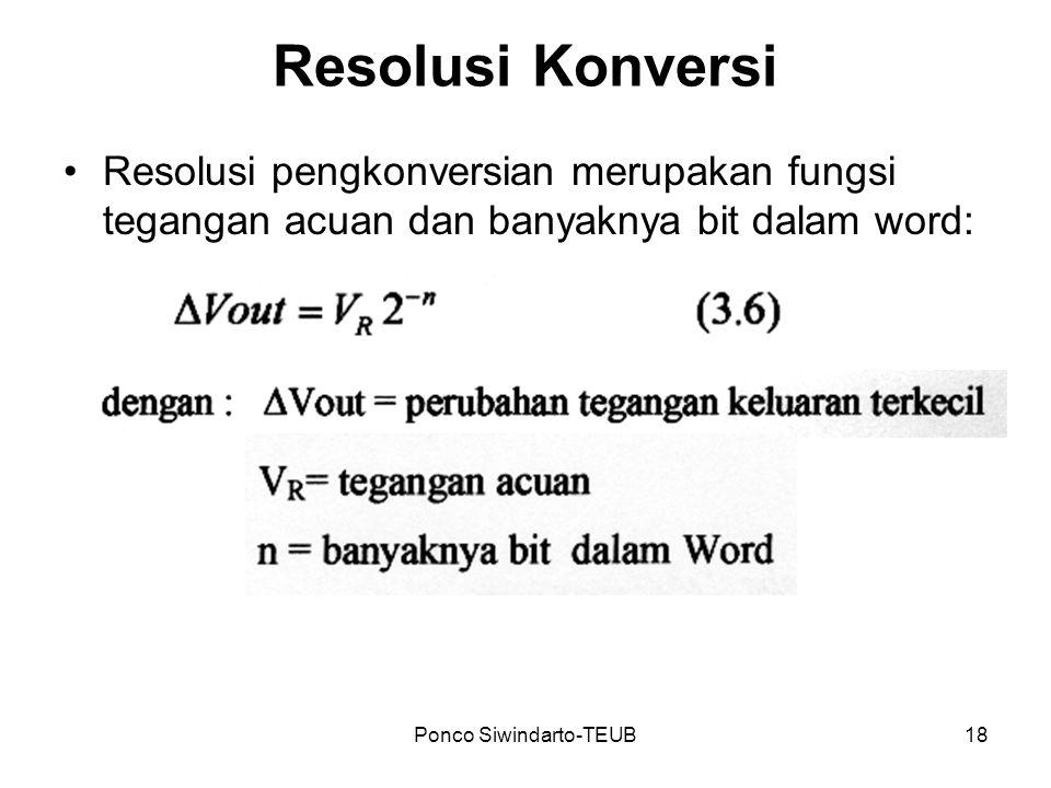 Ponco Siwindarto-TEUB18 Resolusi Konversi Resolusi pengkonversian merupakan fungsi tegangan acuan dan banyaknya bit dalam word:
