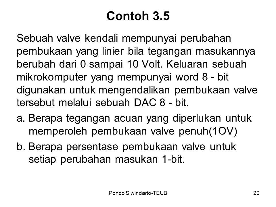 Ponco Siwindarto-TEUB20 Contoh 3.5 Sebuah valve kendali mempunyai perubahan pembukaan yang linier bila tegangan masukannya berubah dari 0 sampai 10 Vo
