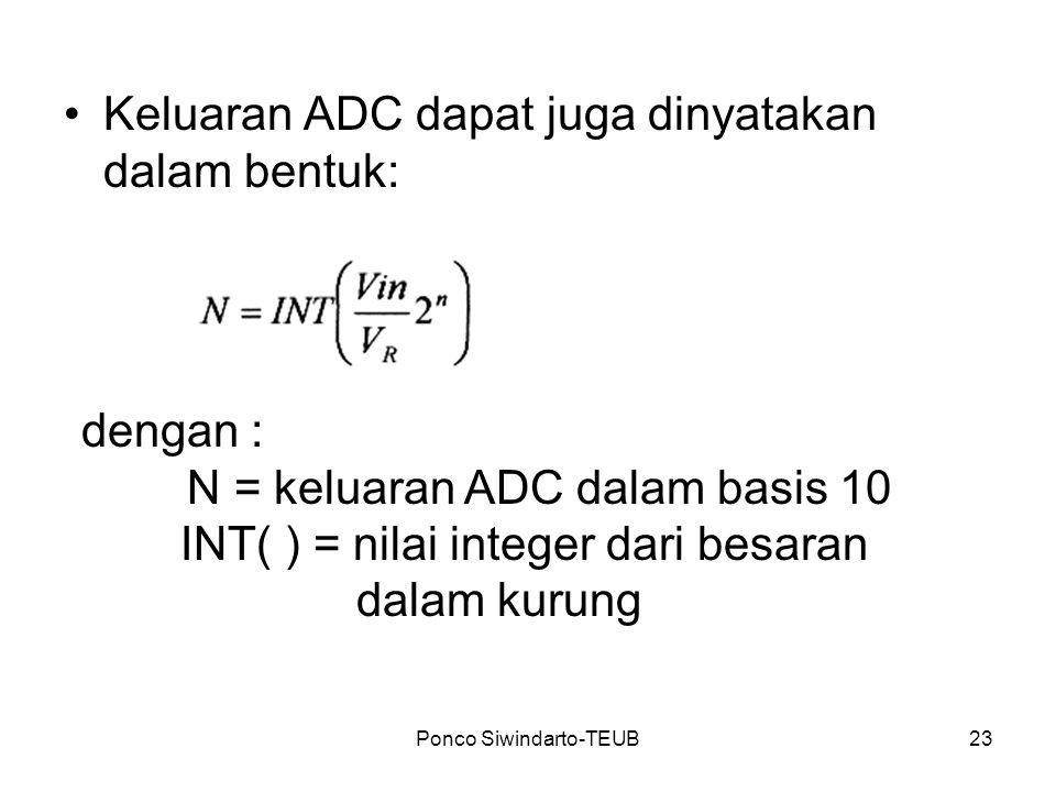 Ponco Siwindarto-TEUB23 Keluaran ADC dapat juga dinyatakan dalam bentuk: dengan : N = keluaran ADC dalam basis 10 INT( ) = nilai integer dari besaran